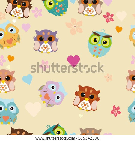 Vector seamless pattern with cute owls, flowers