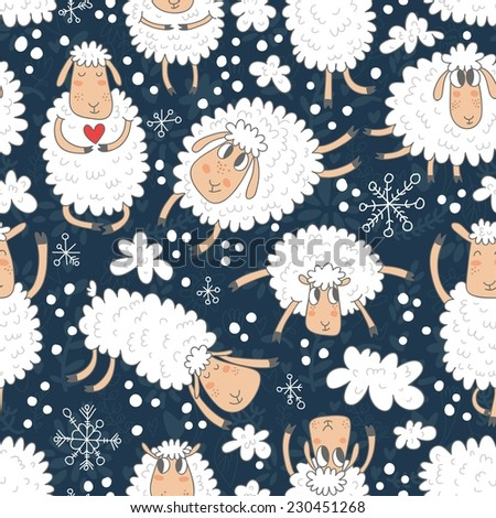 Vector seamless pattern with cute sheep and snowflakes. Hand drawing seamless texture with funny cartoon characters. - stock vector