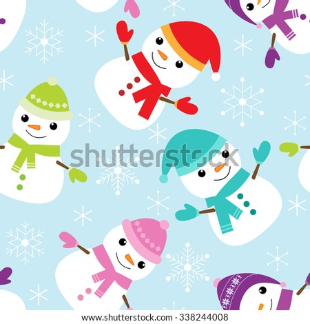 Vector seamless pattern with cute snowmen and snowflakes - stock vector