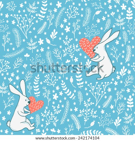 Vector seamless pattern with cute white bunnies, hearts and floral elements: leaves, branches, berries and flowers. Hand drawing romantic texture. - stock vector