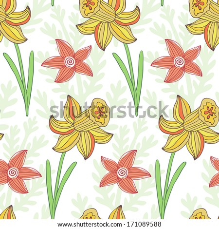 Vector seamless pattern with daffodils on the floral background - stock vector