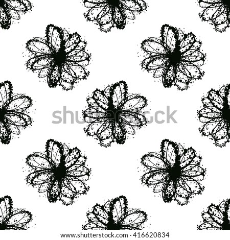Vector seamless pattern with daisy flower and ink blots isolated on white background - stock vector