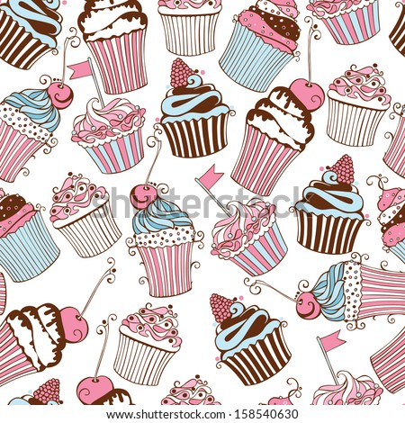 Vector seamless pattern with decorative cupcakes on white background - stock vector
