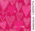 Vector seamless pattern with decorative hearts - stock vector