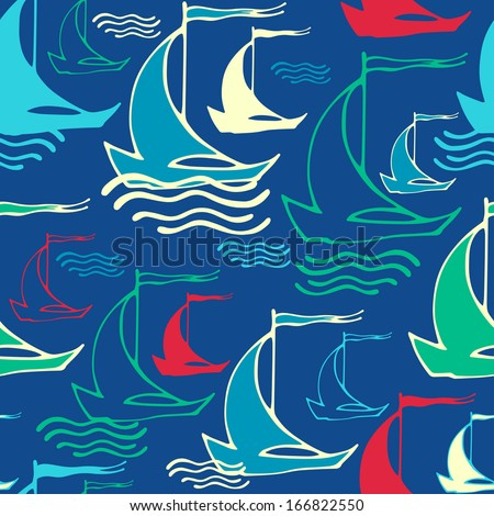 Vector seamless pattern with decorative sailing ships on waves - stock vector