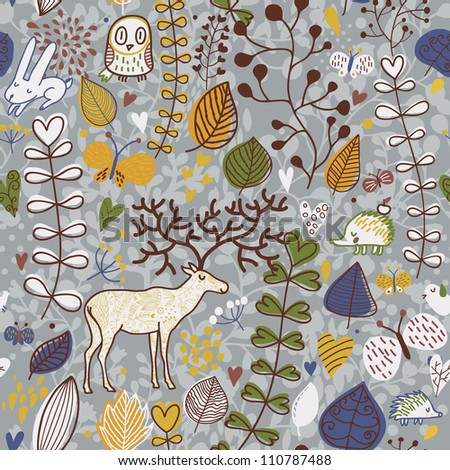 Vector seamless pattern with deer, owl and hedgehog. Seamless pattern can be used for wallpaper, pattern fills, web page background, surface textures - stock vector