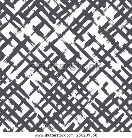 Vector seamless pattern with diagonal careless strokes. Abstract background made using of brush smears. Monochrome hand drawn texture - stock vector
