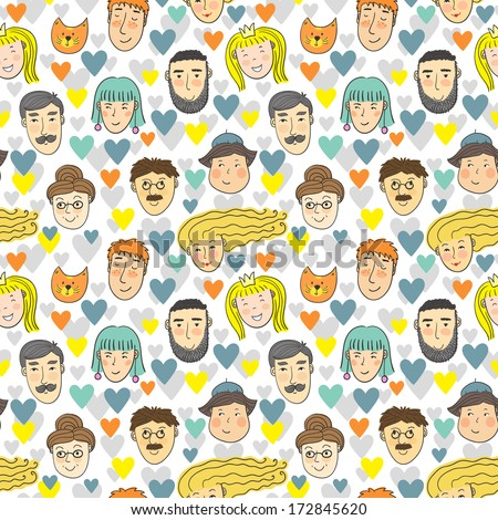 Vector seamless pattern with different faces and hearts on the white background