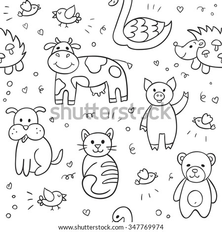 Vector seamless pattern with different hand drawn illustrations of animals and birds such as cow, cat, dog, pig, bear, hedgehog, swan. Can be used for textile, website background, book cover. - stock vector