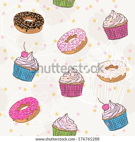 vector seamless pattern with donuts and cupcakes