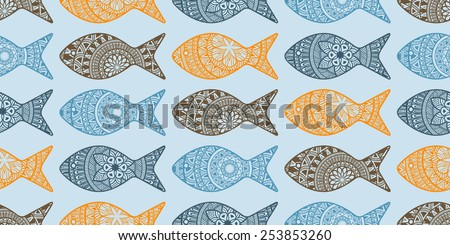 Vector Seamless Pattern with Doodle Fishes,  fully editable  eps 10 file with clipping masks and seamless pattern in swatch menu, fishes can be used separatele - stock vector