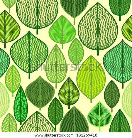 Vector seamless pattern with doodle leaves