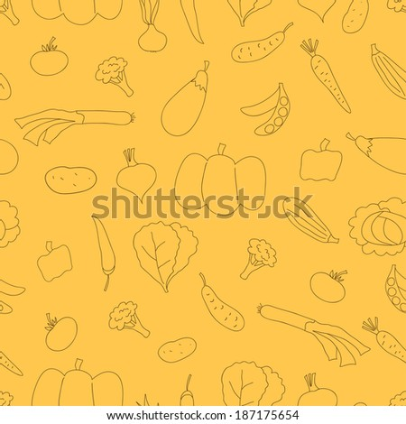 Vector seamless pattern with doodle outline vegetables. Can be used for textile, wallpaper, wrapping. - stock vector