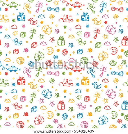 Vector Seamless Pattern With Doodle Toys Kids Background Childhood Endless Wallpaper
