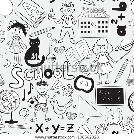Vector seamless pattern with doodles of children and different  school things - stock vector