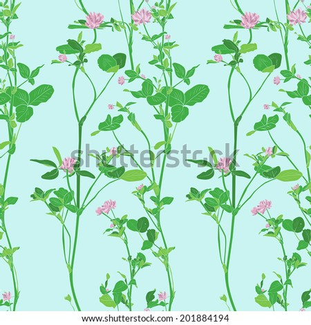 Vector seamless pattern with drawing clovers, wild flowers, hand drawn vector illustration - stock vector