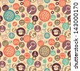 Vector seamless pattern with education and science icons - abstract background in flat style - stock photo
