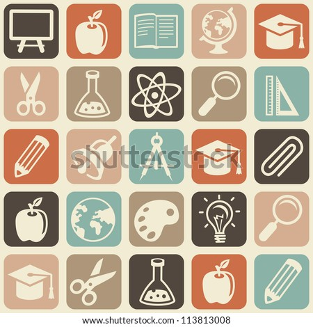 Vector seamless pattern with education icons - abstract background - stock vector