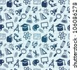 vector seamless pattern with education icons  - back to school - stock vector