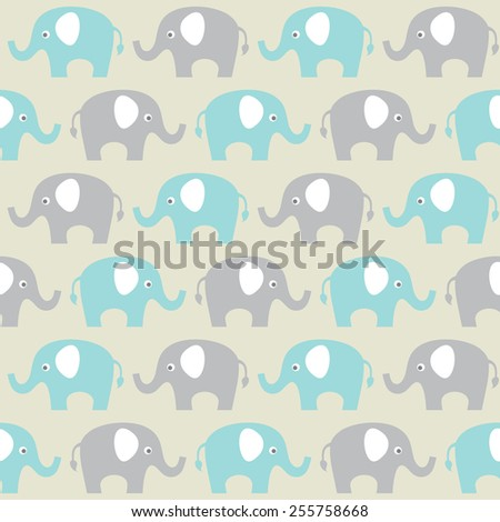 vector seamless pattern with elephants - stock vector