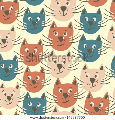 Vector seamless pattern with faces of smiling cats - stock vector