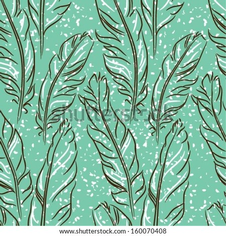 Vector seamless pattern with feathers and snow, eps10 - stock vector