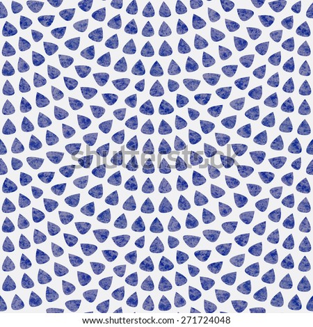 Vector seamless pattern with fish scale layout. Blue drop-shaped elements with watercolor texture on light grey background - stock vector