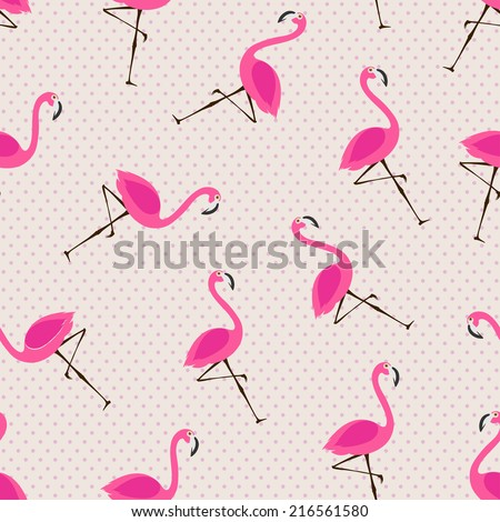 vector seamless pattern with flamingos - stock vector