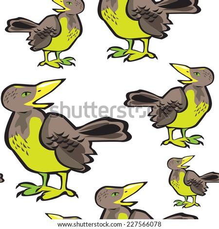 Vector Seamless pattern with flock of birds. Crow, blackbird. - stock vector