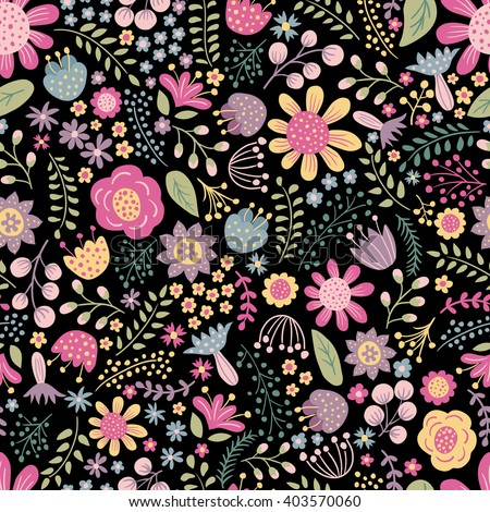 vector seamless pattern with floral elements  - stock vector