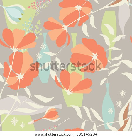 Vector seamless pattern with floral elements, spring flowers, poppies and vases, vector illustration - stock vector