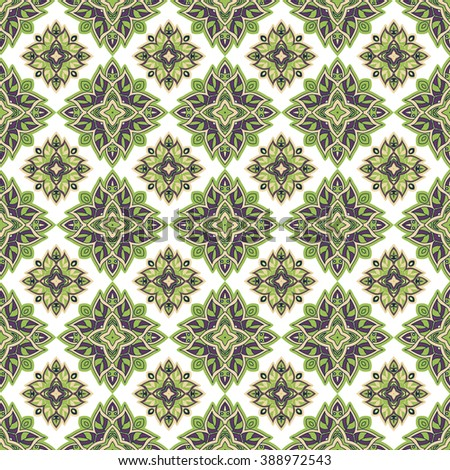Vector seamless pattern with floral ethnic ornament in green and violet. Asian, indian and arabian motives. Could be used as pattern for web design, print or textile
