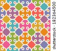 Vector seamless pattern with floral geometric ornament. Color decorative mosaic illustration for print, web - stock vector