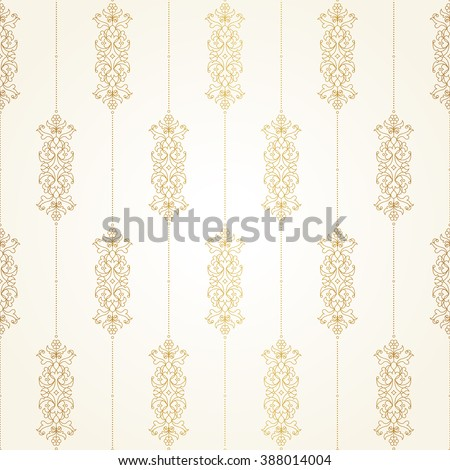 Vector seamless pattern with floral ornament. Vintage design element in Eastern style. Ornamental lace tracery. Ornate decor for wallpaper. Golden floral vignette on beige background. - stock vector