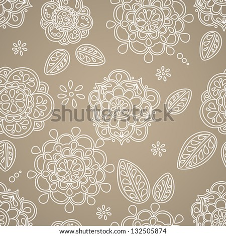 Vector Seamless Pattern with Flower and Leaves