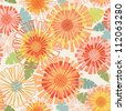 Vector seamless pattern with flowers and leaves. Floral colorful summery background with stylized blooming chrysanthemums. Abstract simple ornamental  illustration in warm tints of orange, yellow, red - stock vector