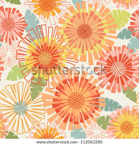 Vector seamless pattern with flowers and leaves. Floral colorful summery background with stylized blooming chrysanthemums. Abstract simple ornamental  illustration in warm tints of orange, yellow, red