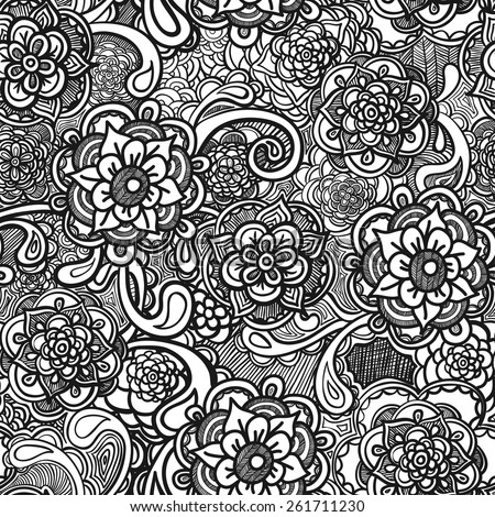 Vector seamless pattern with flowers, black and white - stock vector
