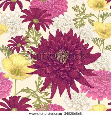 Vector seamless pattern with flowers eschscholzia, daisy, dahlia on a white background. Floral illustration in vintage style. - stock vector