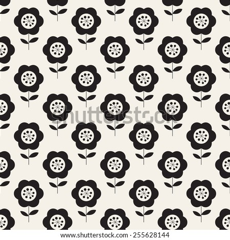 Vector seamless pattern with flowers. Modern stylish texture. Repeating geometric tiles with monochrome daisies. Stylized floral background - stock vector