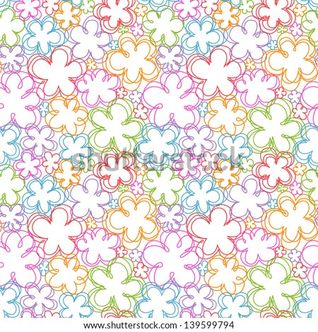 Vector seamless pattern with flowers of doodles. Simple romantic color floral background in hand drawn childish sketch style. Abstract ornamental cute decorative summery illustration for print, web - stock vector