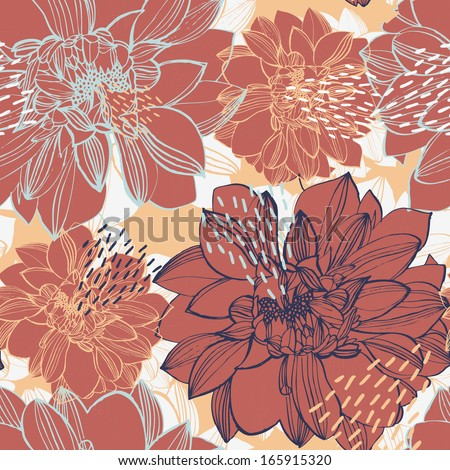 Vector seamless pattern with flowers, peonies