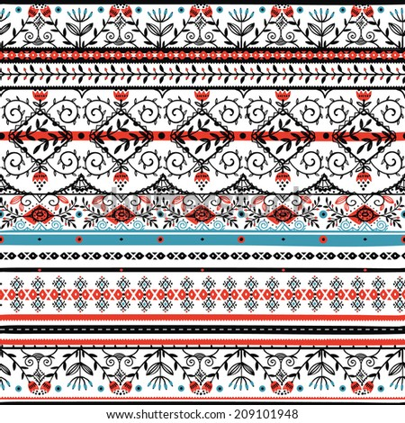 vector seamless pattern with folk ornaments - stock vector