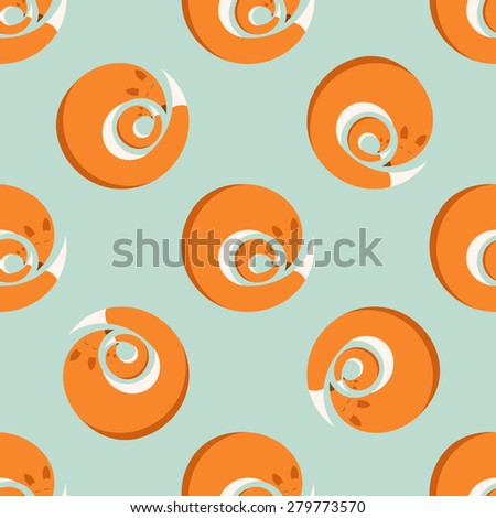 vector seamless pattern with fox and cub - stock vector