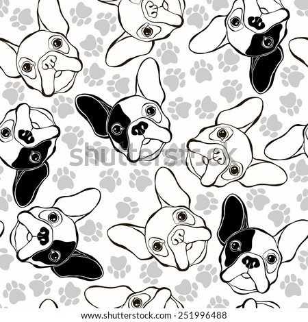 Vector seamless pattern with French Bulldog and traces.  - stock vector