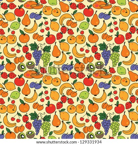 Vector seamless pattern with fruit. Can be used for wallpaper, web page background, wrapping, textile and scrapbook. - stock vector
