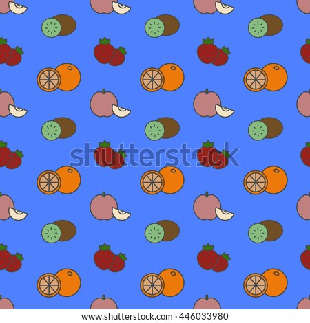Vector seamless pattern with fruits and strawberry - stock vector