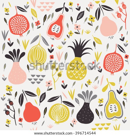 Vector seamless pattern with fruits, flowers and leaves  - stock vector