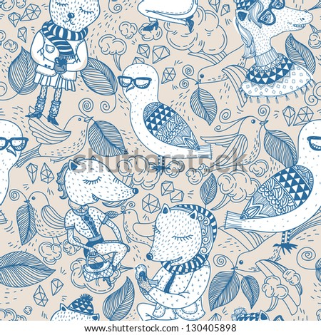 vector  seamless pattern with funny animals - stock vector