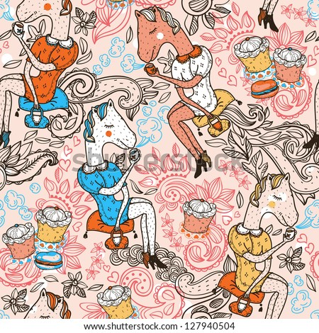 vector seamless pattern with funny horses, drinking tea with yummy cupcakes - stock vector